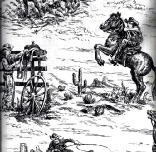 BLACK ON WHITE COWBOY & COWGIRL SCENES FABRIC