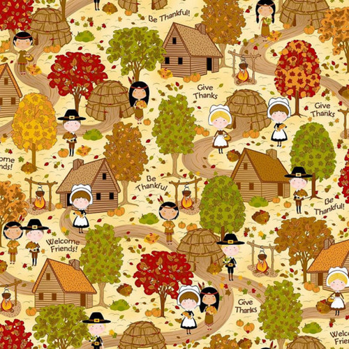 "SCENIC FIRST THANKSGIVING 24"" REPEAT FABRIC"