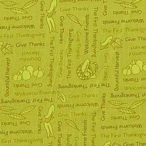 THANKSGIVING PHRASES ON GREEN FABRIC