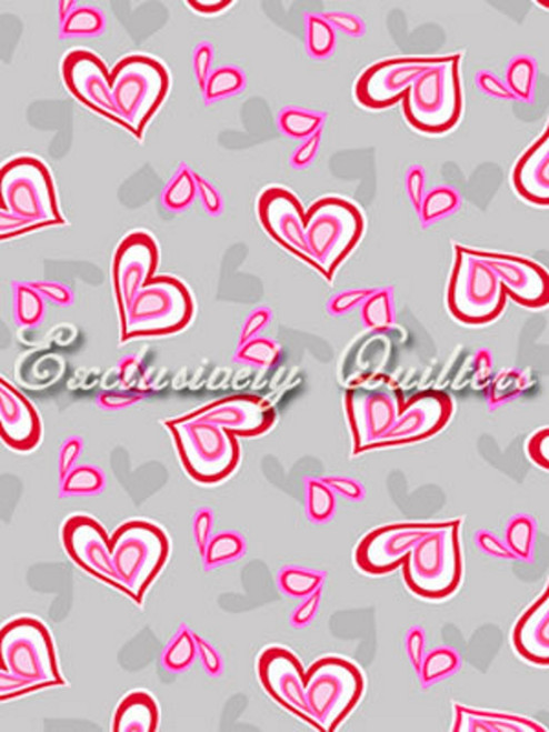 RED, WHITE AND PINK HEARTS ON GRAY FABRIC