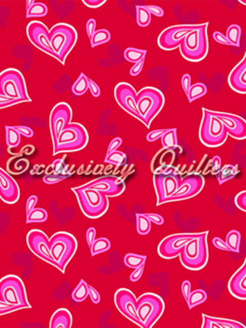 RED, GRAY, PINK AND WHITE HEARTS ON RED FABRIC