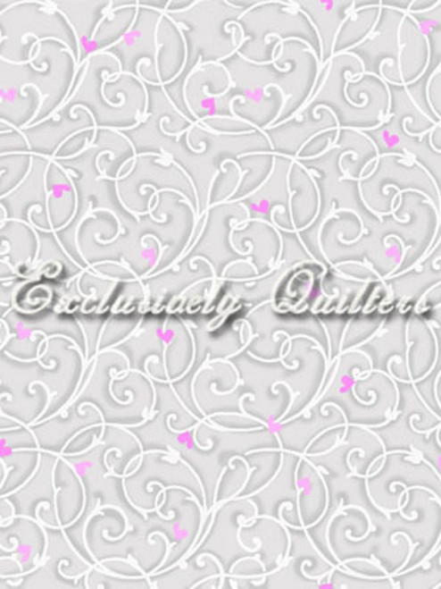 RED AND PINK HEARTS AND WHITE TENDRIL PATTERN ON GRAY FABRIC