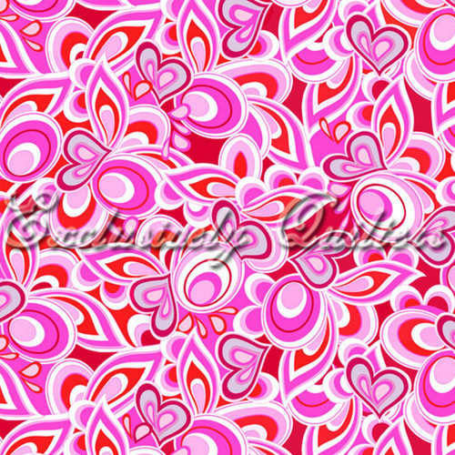 TOSSED RED, GRAY, PINK & WHITE ASSORTED DESIGNS & HEARTS ON RED FABRIC