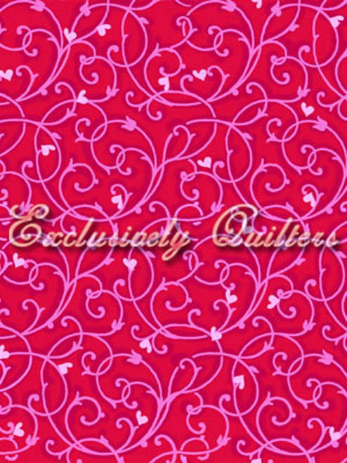 PINK HEARTS AND PINK TENDRIL PATTERN ON RED FABRIC