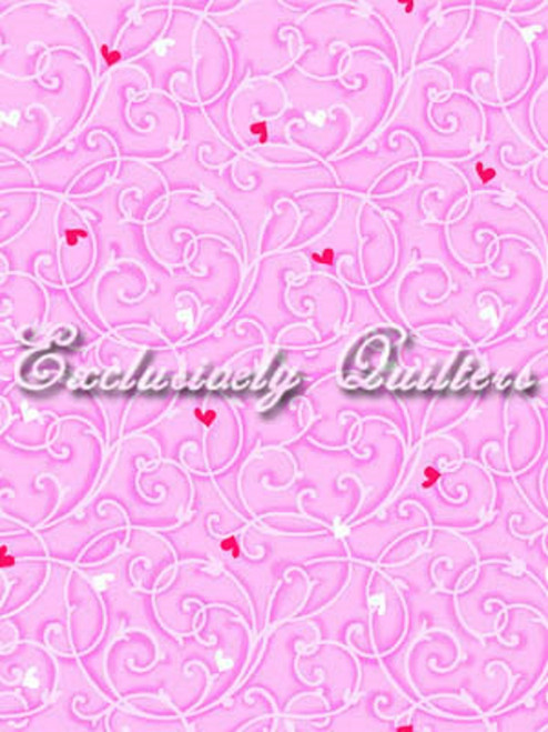RED & WHITE HEARTS & PINK TENDRIL PATTERN ON PINK FABRIC