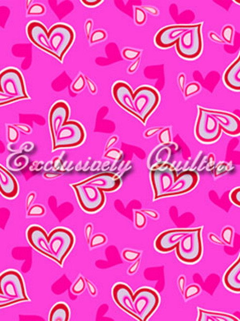 RED, GRAY AND PINK HEARTS ON PINK FABRIC