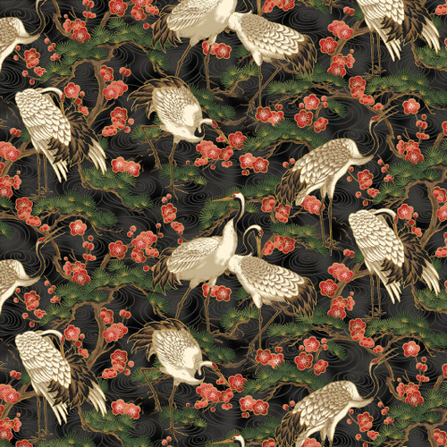 STANDING CRANES WITH TREES & RED FLOWERS ON BLACK FABRIC
