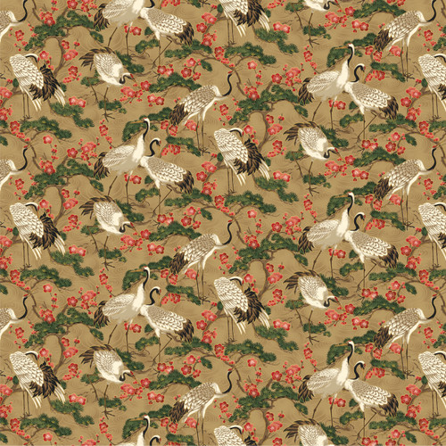 STANDING CRANES WITH TREES & RED FLOWERS ON BEIGE FABRIC