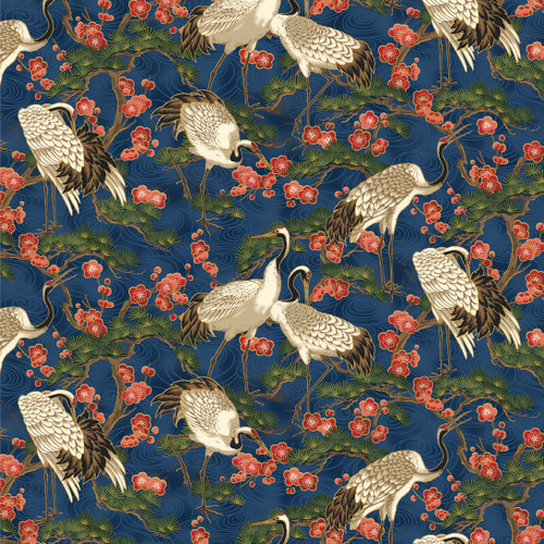 STANDING CRANES WITH TREES & RED FLOWERS ON INDIGO FABRIC