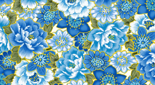 ASSORTED LARGE BLUE FLORALS WITH GOLD METALLIC OUTLINES FABRIC