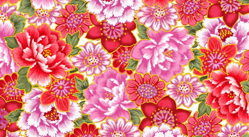 ASSORTED LARGE RED & PINK FLORALS WITH GOLD METALLIC OUTLINES FABRIC