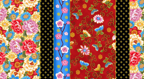 ASSORTED FLORALS BORDER STRIPE WITH GOLD METALLIC OUTLINES FABRIC