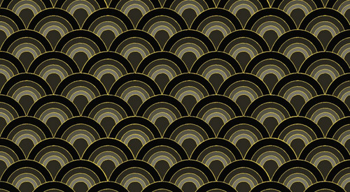 ASSORTED BLACKS WITH GOLD METALLIC SCALLOPS FABRIC