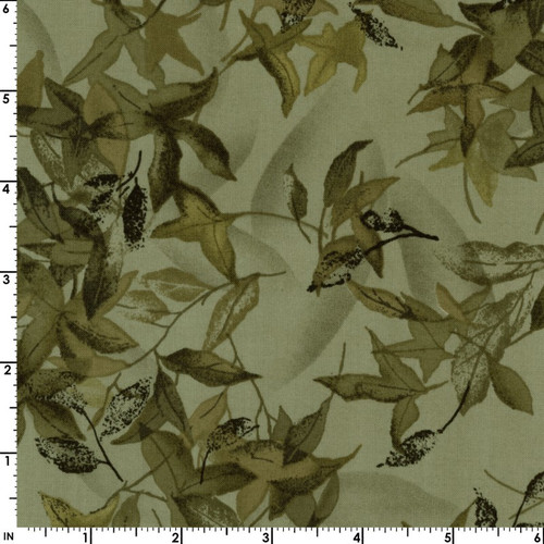 GREEN FALLING LEAVES FABRIC