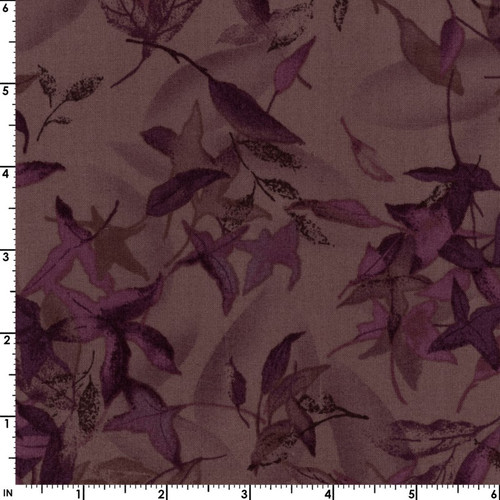 EGGPLANT FALLING LEAVES FABRIC