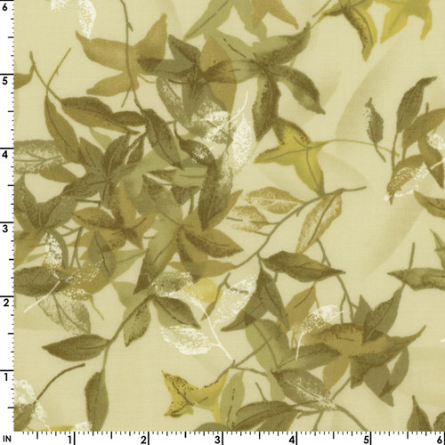 NATURAL/GREEN FALLING LEAVES FABRIC
