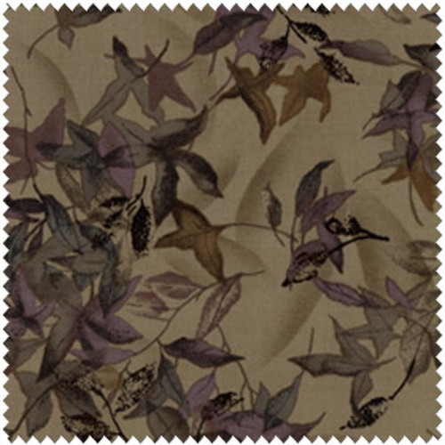 TAUPE/EGGPLANT FALLING LEAVES FABRIC-1