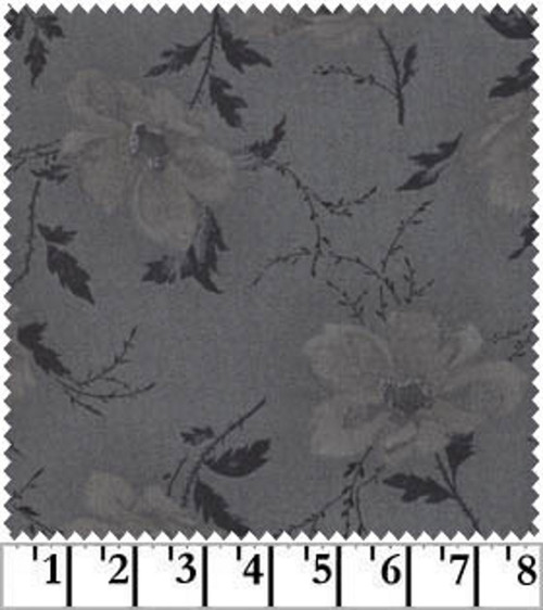 OPEN ROSE - CHARCOAL FABRIC