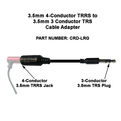 CRD-LRG 4-Conductor to 3-Conductor 3.5mm TRRS to TRS Adapter Cable