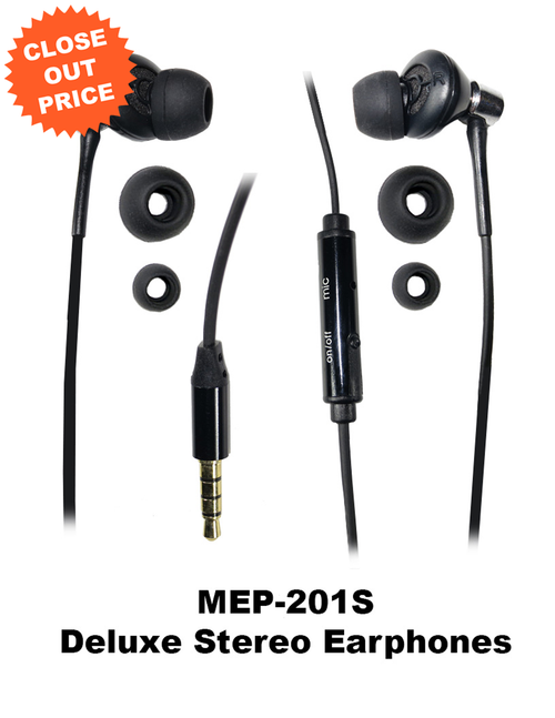 Clearance Priced Smartphone Compatible Stereo Earbuds with 3 Sized Pairs of Eartips and Zipper Carrying Case