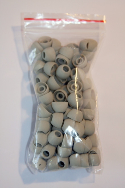 Bag of 100 Gray Colored Silicone Eartips