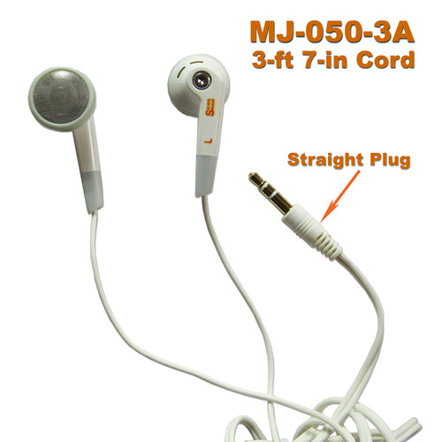 Cheap in-ear headphones with straight 3.5mm gold-plated plug