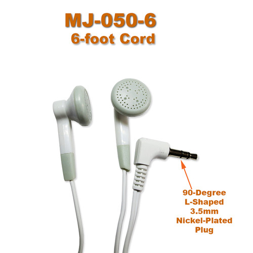 Model MJ-050-6 has a 6-foot long cord and 3.5mm stereo plug