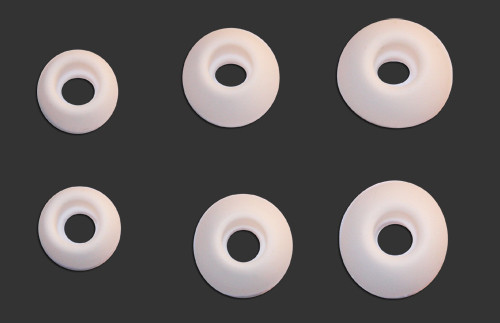 Rubber Earbud Eartips (White), 3 Sized Pairs