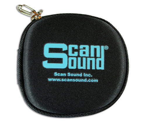 Zippered earphone carrying case with heavy-duty spring clip