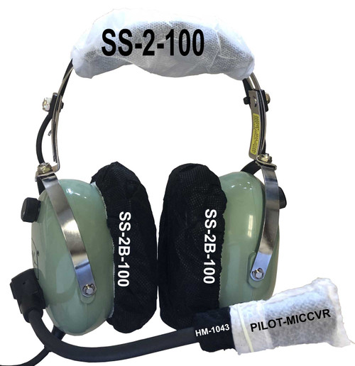 Pilot Headphone with Headphone Covers and Microphone Cover Labeled