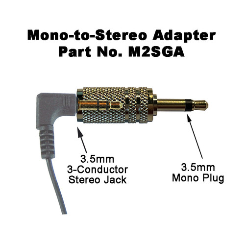 Plug is superimposed to show the adapter accepts a 3-conductor Male plug, and will connect with devices that have a Mono jack