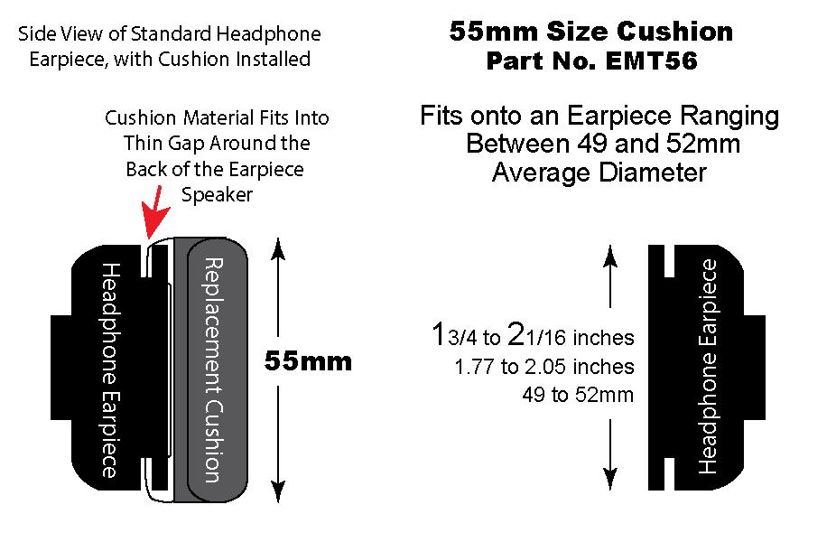 EMT56 55mm Leatherette Cushion on Headset