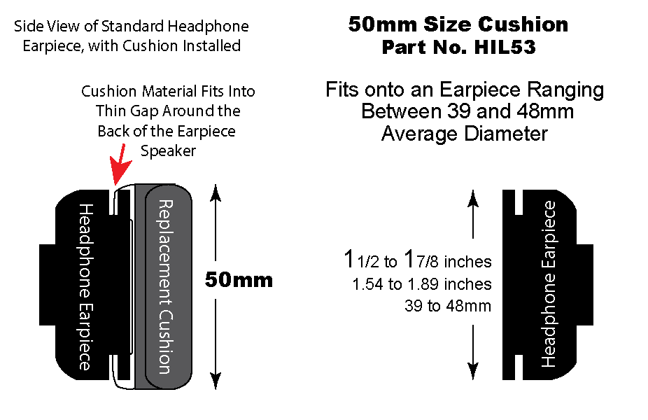 HIL53 50mm leatherette cushion on headset
