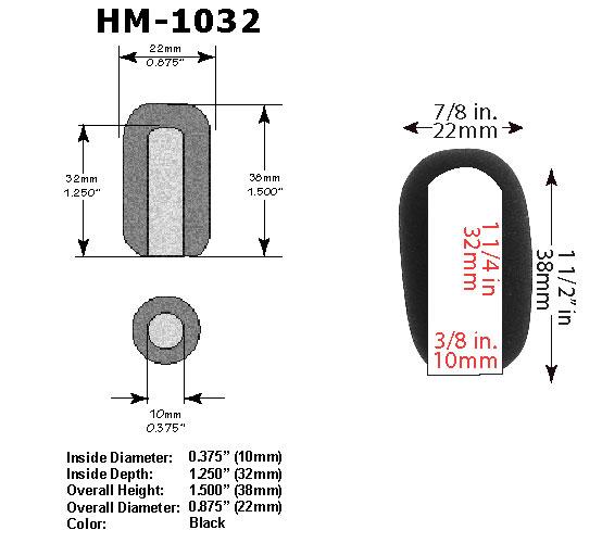 HM-1032 Microphone Windscreen Dimensions