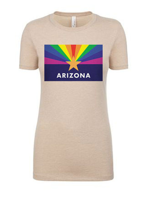 Womens' Arizona LGBT Pride Flag T-shirt - cream