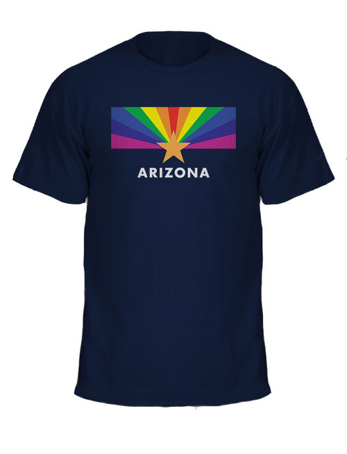 Unisex Arizona LGBT Pride Flag T-shirt - navy