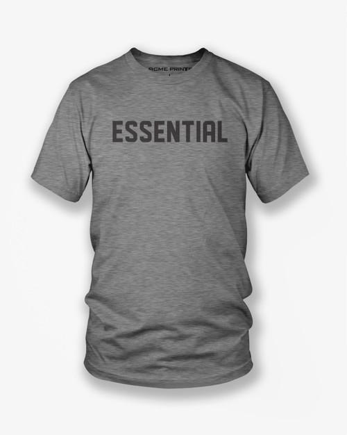 'Essential' printed on a dark heather grey shirt.