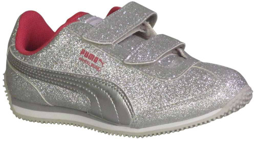 Puma Whirlwind Glitz Girls Category: Fashion Sneakers Color: Silver - Beetroot Purple - Grey ItemNumber: G363973-12