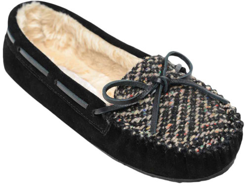 Minnetonka Calley Slipper Womens Category: Slippers Color: Black ItemNumber: W4029