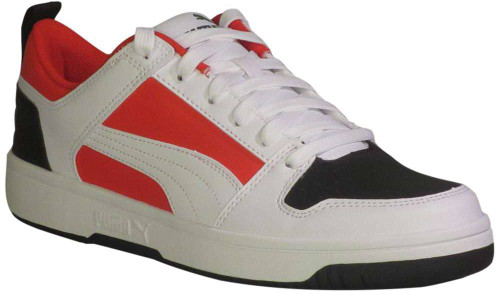 Puma Puma Rebound Layup Lo Mens Category: Fashion Sneakers Color: White - Black - HighRiskRed - GardenG ItemNumber: M369866-05