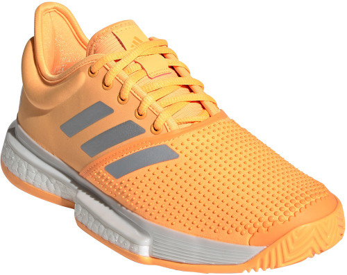Adidas SoleCourt Womens Category: Tennis Color: Flash Orange - White - Grey One ItemNumber: WEF2076
