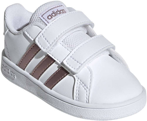 Adidas Grand Court Toddler Girls Category: Fashion Sneakers Color: White - Copper Metallic - Glow Pink ItemNumber: SEF0116