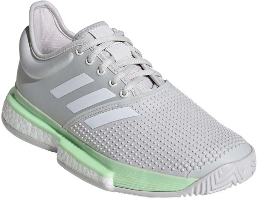 Adidas SoleCourt Womens Category: Tennis Color: Glow Green - White - Grey One ItemNumber: WEF2075