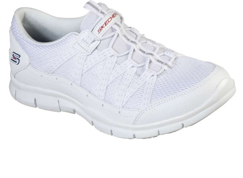 Skechers Gratis Missions Allow Me Womens Category: Fashion Sneakers Color: White - Navy ItemNumber: W104089-WNVR