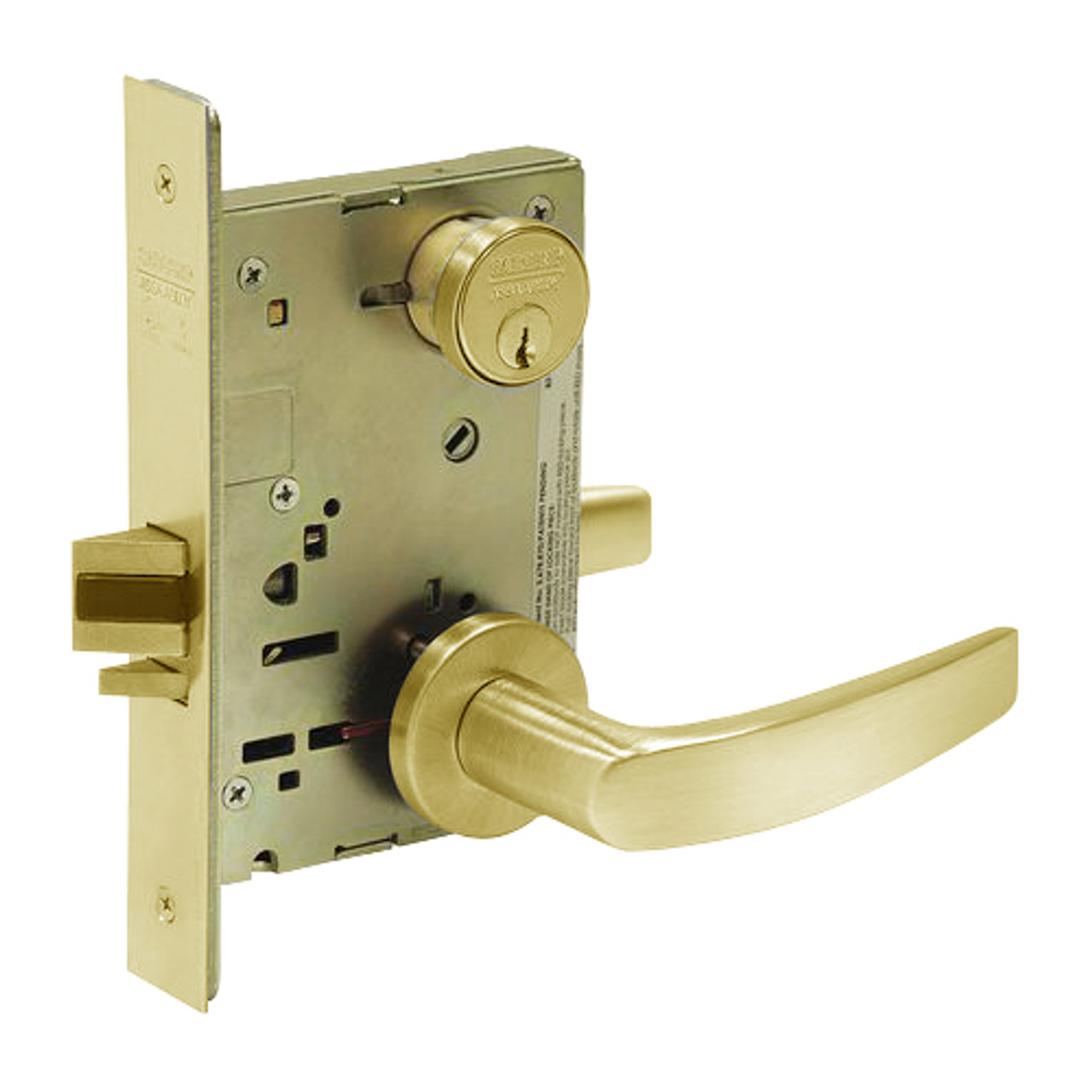 8238-LNB-03 Sargent 8200 Series Classroom Security Intruder Mortise Lock with LNB Lever Trim in Bright Brass