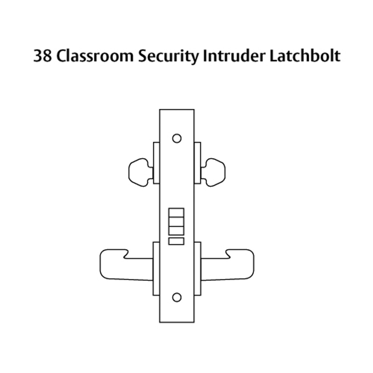 8238-LNB-04 Sargent 8200 Series Classroom Security Intruder Mortise Lock with LNB Lever Trim in Satin Brass