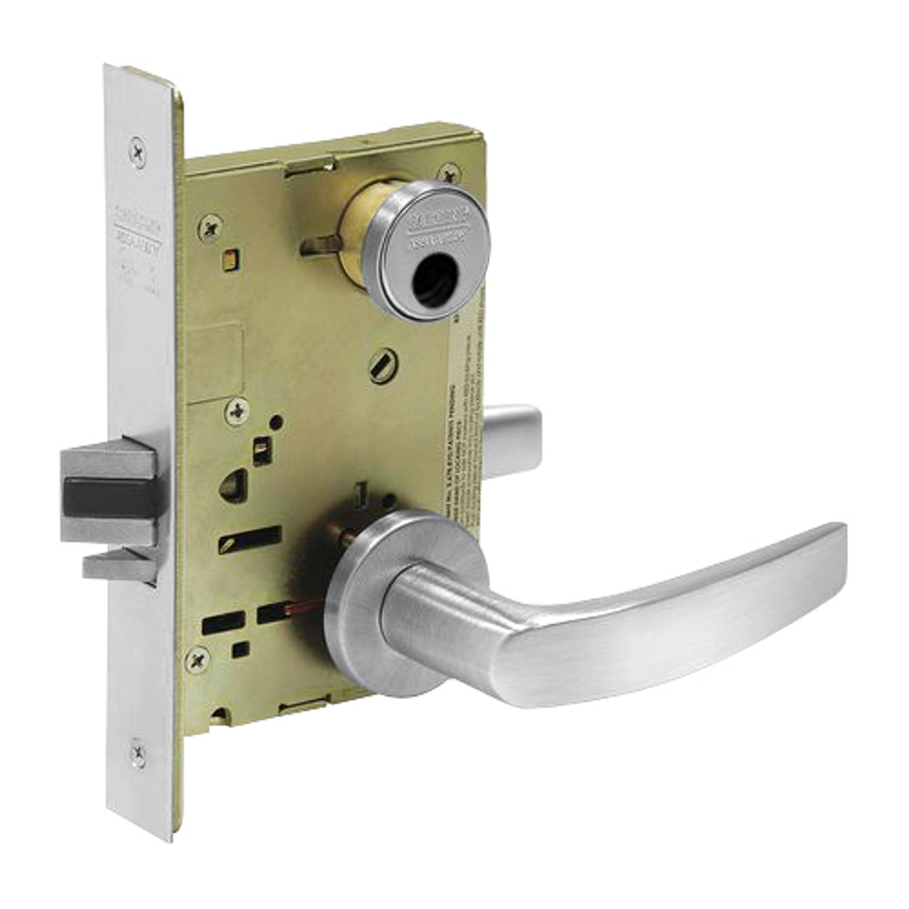 LC-8238-LNB-26 Sargent 8200 Series Classroom Security Intruder Mortise Lock with LNB Lever Trim Less Cylinder in Bright Chrome