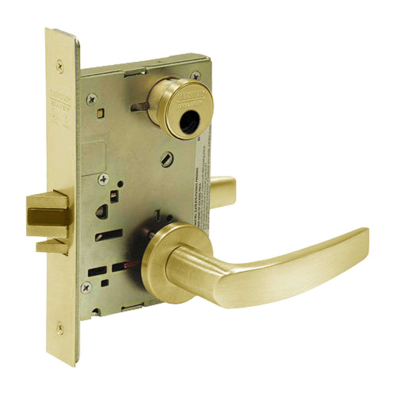 LC-8238-LNB-03 Sargent 8200 Series Classroom Security Intruder Mortise Lock with LNB Lever Trim Less Cylinder in Bright Brass