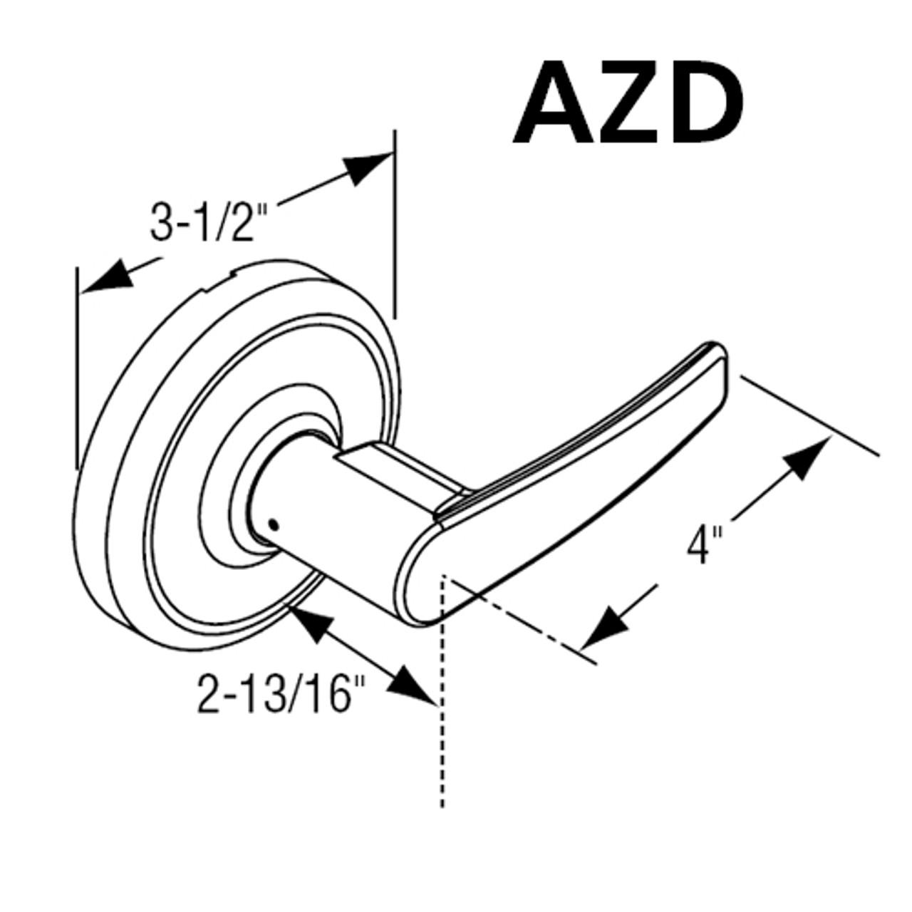 2-3//4 Backset Steel//Zinc//Brass 2-3//4 Backset Non Handed 605 Bright Polished Corbin Russwin CL3557-NZD-605-LC Grade 1 Storeroom
