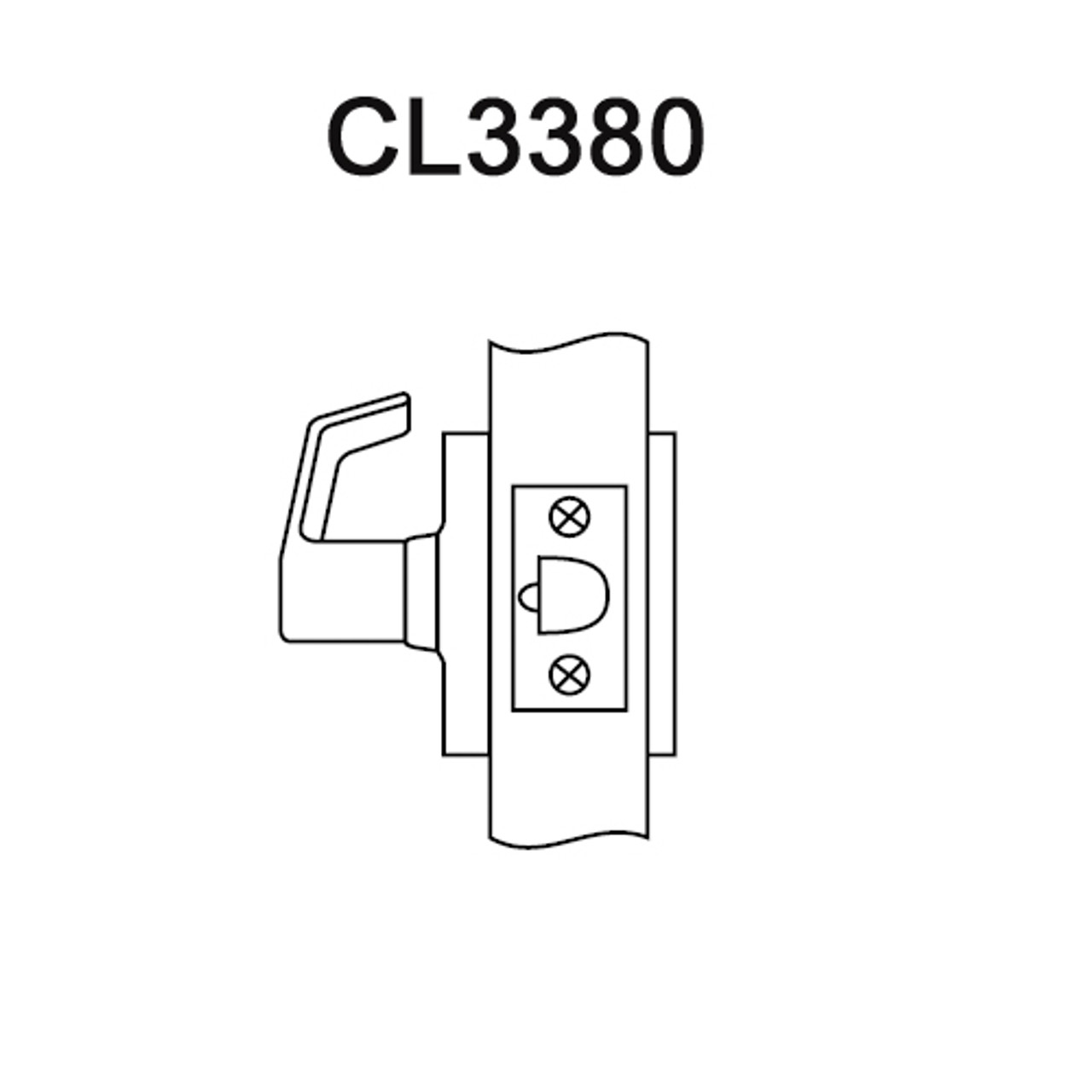 CL3380-NZD-625 Corbin CL3300 Series Extra Heavy Duty Passage with Blank  Plate Cylindrical Locksets with Newport Lever in Bright Chrome